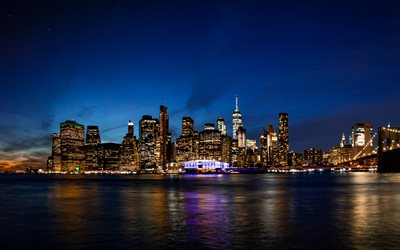 New York City, Manhattan, night, World Trade Center 1, New York cityscape, American metropolis, skyline, USA, NYC, New York