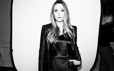 Elizabeth Olsen, american actress, portrait, monochrome, photoshoot, black leather dress, american star