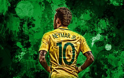 Neymar, green paint splashes, back view, Brazil national football team, football stars, grunge art, Neymar da Silva Santos Junior, soccer, Neymar JR, Brazilian National Team, creative
