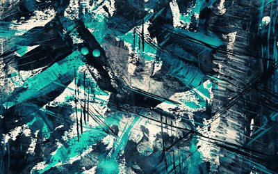 grunge paint strokes, creative, blue grunge background, artwork, blue lines, grunge backgrounds