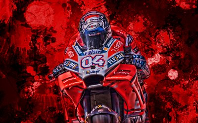 Andrea Dovizioso, red paint splashes, MotoGP, 2019 bikes, Ducati Desmosedici GP19, grunge art, racing bikes, Mission Winnow Ducati Team, Ducati