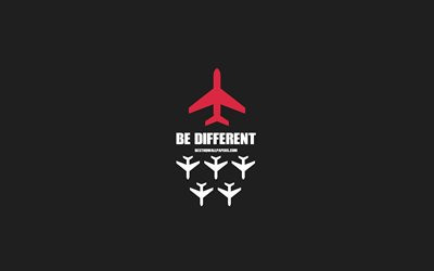 Be different, creative art, planes icons, leader concepts, Be different concepts