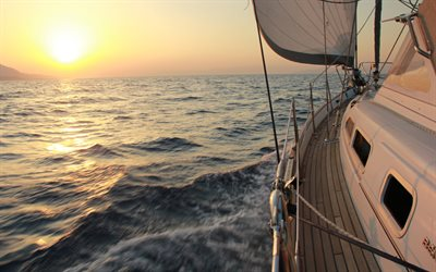 seascape, deck, luxury yacht, evening, sunset, sailboat