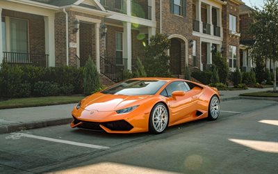 Lamborghini Huracan, 2018, orange sports car, front view, Huracan, orange sports coupe, Italian sports cars, Lamborghini