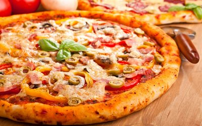 pizza with bacon and olives, fast food, pizza, delicious food, pizza with sausage