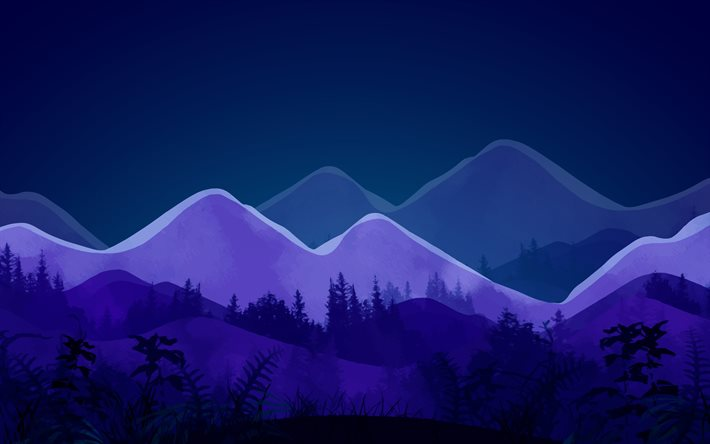 4k, abstract nightscapes, mountains, forest, nightscapes minimalism, creative, abstract landscapes
