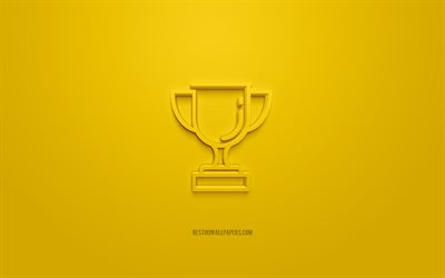 Cup 3d icon, yellow background, 3d symbols, cup award, creative 3d art, 3d icons, Award sign, Business 3d icons