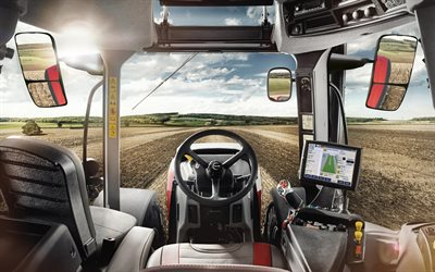 Steyr 6300 Terrus, 2020, interior, view from the tractor cab, modern tractors, agricultural machinery, harvesting concepts, Steyr
