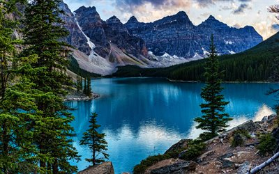 Banff, Moraine Lake, 4k, evening, blue lake, North America, mountains, Banff National Park, beautiful nature, Canada, Alberta, HDR