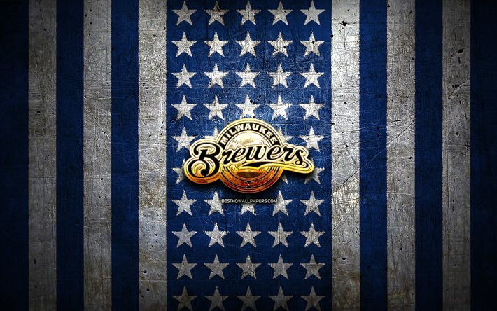 Download Wallpapers Milwaukee Brewers Flag Mlb Blue White Metal Background American Baseball Team Milwaukee Brewers Logo Usa Baseball Milwaukee Brewers Golden Logo For Desktop Free Pictures For Desktop Free