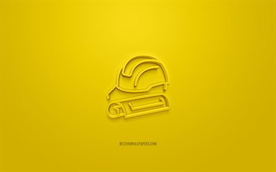 Architect 3d icon, yellow background, 3d symbols, Architect, Design of houses 3d icon, creative 3d art, 3d icons, Architect sign, Construction 3d icons